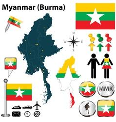 Map myanmar vector