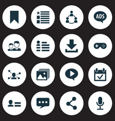 media icons set with bookmark friends photo and vector image
