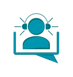 men silhouette with headphones on a chat bubble vector image