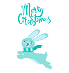 Merry christmas greeting card rabbit long ears vector
