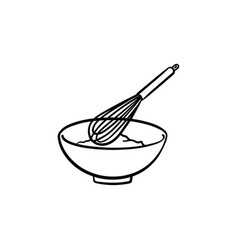 mixing bowl with wire whisk hand drawn sketch icon vector image