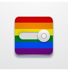Modern lgbt flag button on gray background vector