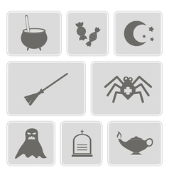 monochrome icons with symbols of Halloween vector image