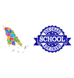 Mosaic map koh chang and grunge school stamp vector