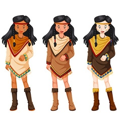 Native american indians women in traditional vector