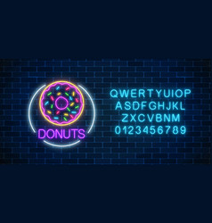 neon glowing sign of donuts in circle frame with vector image