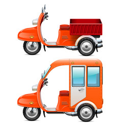 Orange scooters set 2 vector