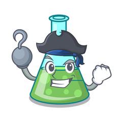 Pirate science beaker character cartoon vector