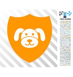 Puppy shield flat icon with bonus vector