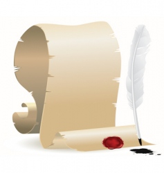 Quill and paper with seal vector