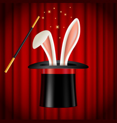 rabbit ears appearing from magician hat magic vector image