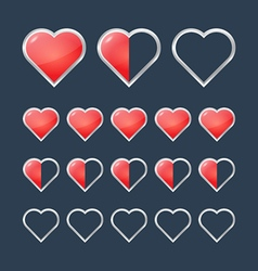 Red hearts with filling rating status icons vector