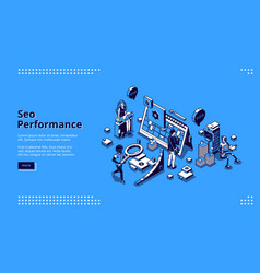 seo performance isometric landing page banner vector image
