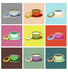 Set icons in flat design cup of tea and donat vector