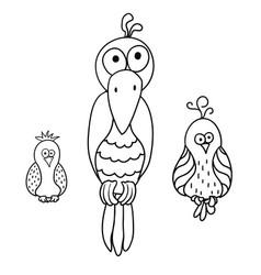 Set of cartoon birds parrot crow vector