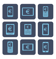 set of icons - mobile devices with euro symbols vector image