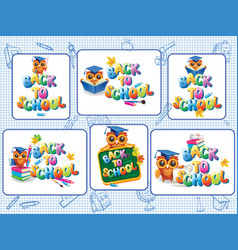 set of stickers template for back to school vector image
