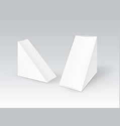set white blank cardboard triangle take vector image