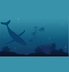 Silhouette of whale and ship underwater landscape vector
