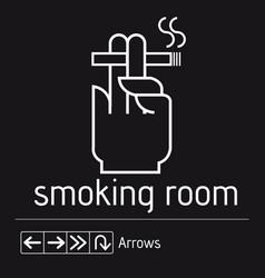 smoking room black sign door no smoking area vector image