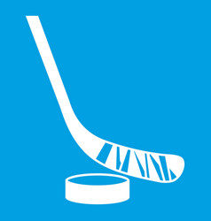 Stick and puck icon white vector