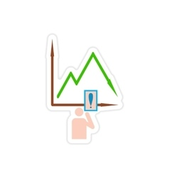 Stylish sticker on paper falling graph and people vector