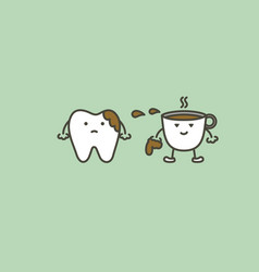 Teeth are smudged from coffee vector