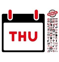 Thursday Calendar Page Flat Icon With Bonus vector