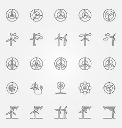 Wind turbine icons set vector