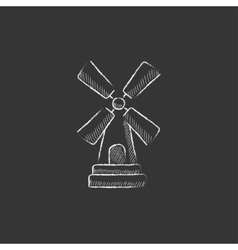 Windmill drawn in chalk icon vector