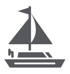yacht glyph icon transportation and boat vector image