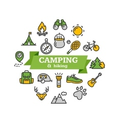 Camping Tourism Hiking Concept vector image