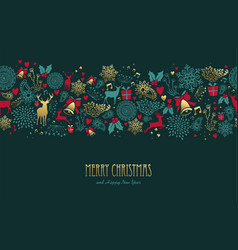 christmas and new year deer pattern greeting card vector image vector image