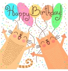 Cute happy birthday card with funny kittens vector image vector image