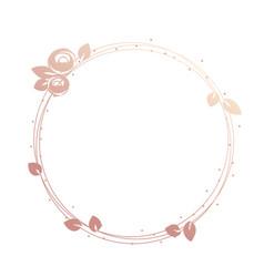 Feminine logo frame wreath gold roses and leaves vector