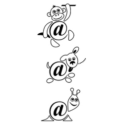 international sign email animals contour vector image vector image