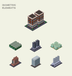 isometric architecture set of water storage vector image vector image