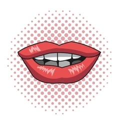 pink lips woman pink dotted background vector image