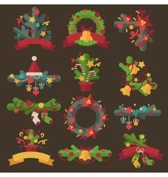 Set of christmas wreaths vector image