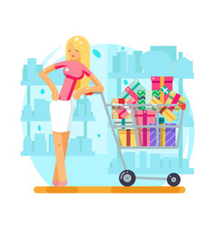 shop cart shopping woman purchase gift flat design vector image vector image