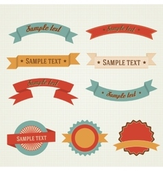Vintage retro flat badges labels ribbons set vector image