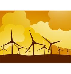 wind turbine farm vector image