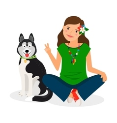 Hippie Girl with Dog vector image