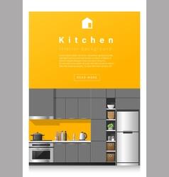Interior design Modern kitchen banner 5 vector image