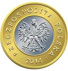 obverse Polish Money two zloty coin vector image vector image