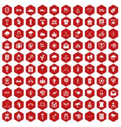 100 arrow icons hexagon red vector image