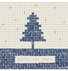 doodles new year card vector image vector image