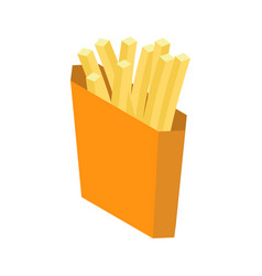 French fries isolated paper box for fast food on vector