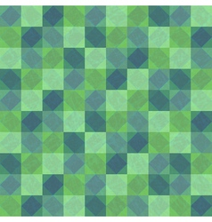 Green seamless background with squares and rhombes vector image