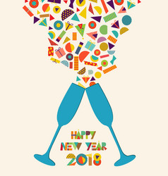happy new year 2018 colorful party toast splash vector image